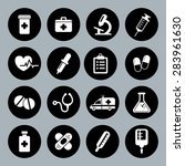 set of medical icons in flat...   Shutterstock . vector #283961630
