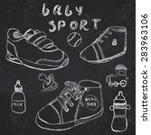 baby shoes set sketch hand... | Shutterstock . vector #283963106