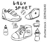 baby shoes set sketch hand... | Shutterstock . vector #283963640