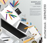 workspace of the graphic... | Shutterstock .eps vector #283965350