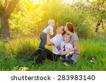 father  mother and two sons are ... | Shutterstock . vector #283983140