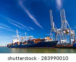 large container vessel unloaded ... | Shutterstock . vector #283990010