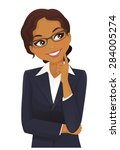 woman thinking   Shutterstock .eps vector #284005274
