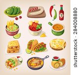 mexican street  restaraunt and... | Shutterstock .eps vector #284008880