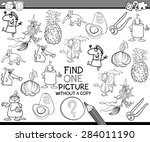 black and white cartoon vector... | Shutterstock .eps vector #284011190
