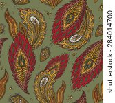 colorful paisley seamless | Shutterstock .eps vector #284014700