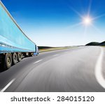 the highway traffic in sunset... | Shutterstock . vector #284015120