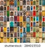 set photos of doors on the old... | Shutterstock . vector #284015510
