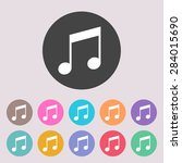 music icon. notes. set of... | Shutterstock .eps vector #284015690