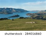 view to akaroa harbour and city ... | Shutterstock . vector #284016860