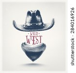 cowboy hat and scarf  wild west ... | Shutterstock .eps vector #284016926
