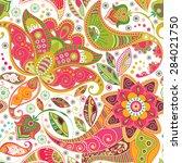 floral seamless pattern. summer ... | Shutterstock .eps vector #284021750