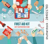 first aid kit with medications... | Shutterstock .eps vector #284021783