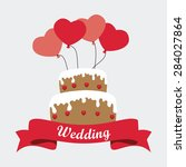 wedding card design over white... | Shutterstock .eps vector #284027864