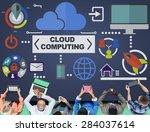cloud computing network online... | Shutterstock . vector #284037614