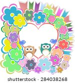 background with owl  flowers... | Shutterstock .eps vector #284038268