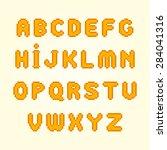 orange pixel font. vector... | Shutterstock .eps vector #284041316