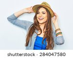 happy woman  with yellow hat