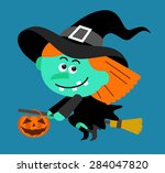 Cartoon Witch Character Flying...