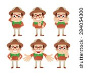 set of young man characters in... | Shutterstock .eps vector #284054300