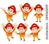 firefighter characters in...   Shutterstock .eps vector #284060009