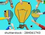 hot air balloon bulb ideas...   Shutterstock . vector #284061743