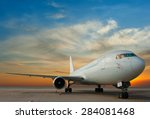 airplane parking with sunset | Shutterstock . vector #284081468