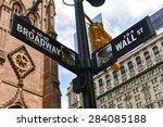 broadway and wall street... | Shutterstock . vector #284085188