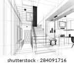 sketch design of stair hall ...   Shutterstock . vector #284091716