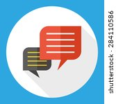 chat speech flat icon with long ...