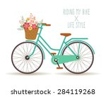 bicycle with a basket full of... | Shutterstock .eps vector #284119268