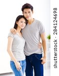young happy couple hugging and... | Shutterstock . vector #284124698