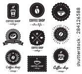 coffee shop logo badges vintage ...   Shutterstock .eps vector #284126588