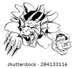 a dragon sports mascot ripping... | Shutterstock . vector #284133116
