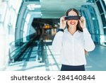 woman wearing goggles in... | Shutterstock . vector #284140844