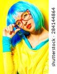 bright glamorous girl in vivid... | Shutterstock . vector #284144864