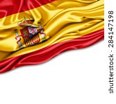 spain  flag of silk and white... | Shutterstock . vector #284147198