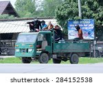 Small photo of CHIANGMAI, THAILAND -JUNE 4 2015: Garden truck of Nongjom Subdistrict Administrative Organization