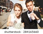 young luxury gorgeous happy... | Shutterstock . vector #284165660
