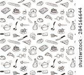 hand drawn cooking doodle set... | Shutterstock .eps vector #284166644
