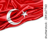 Turkey  Flag Of Silk And White...