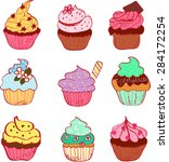 set of cupcakes  vector on a... | Shutterstock .eps vector #284172254