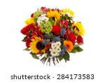 colorful spring flowers bouquet ... | Shutterstock . vector #284173583