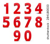 red numbers set from 0 to 9... | Shutterstock . vector #284180033