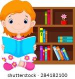 little girl reading a book | Shutterstock .eps vector #284182100
