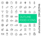 outline food icons set for web... | Shutterstock .eps vector #284182946