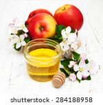 apples with honey and apple... | Shutterstock . vector #284188958