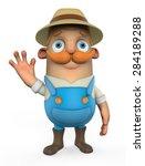 3d cartoon farmer   Shutterstock . vector #284189288