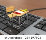 school desk and chair on the...   Shutterstock . vector #284197928