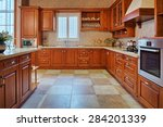 Stock photo modern kitchen interior and furniture 284201339